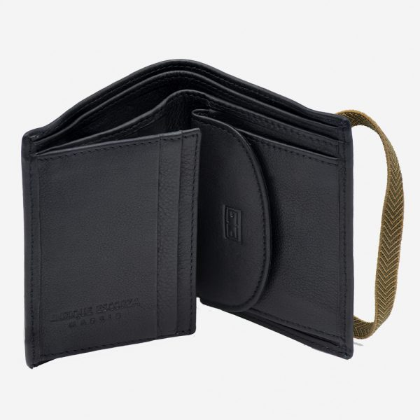 Small leather wallet for men with elastic and modern purse