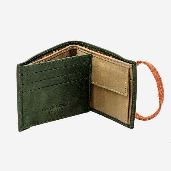 Modern men's leather wallet with purse and elastic
