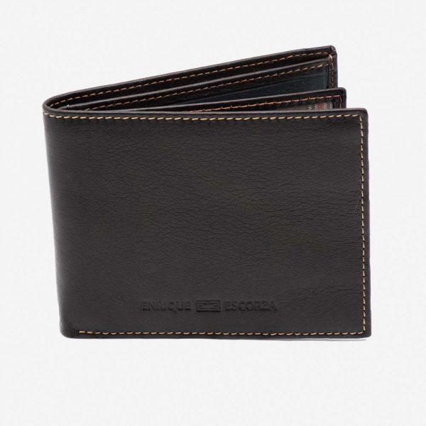 Billetera negra de hombre de cuero