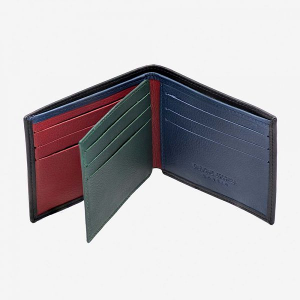 Interior de billetera de cuero de colores